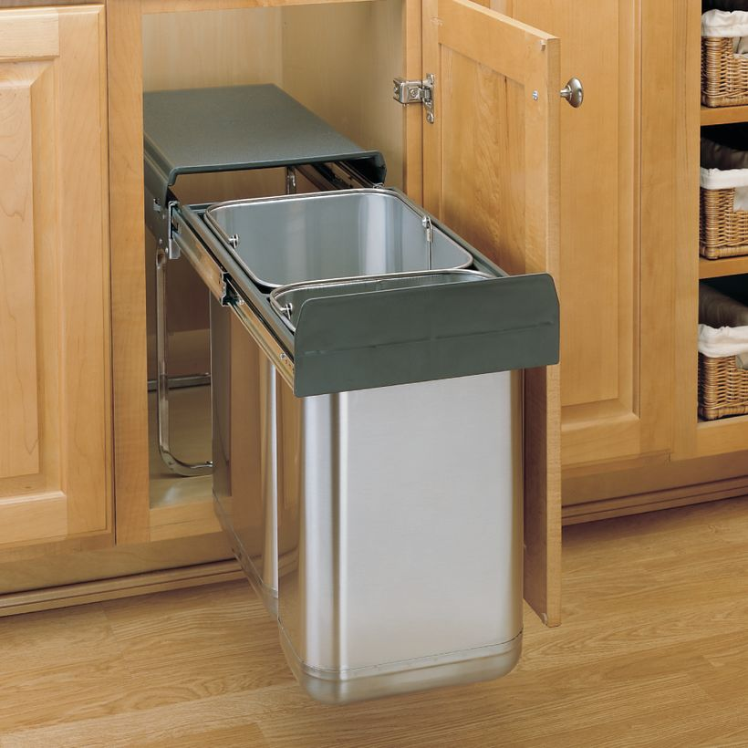 8-785 Series Stainless Steel Under Sink Mount Waste Container Pull-Out