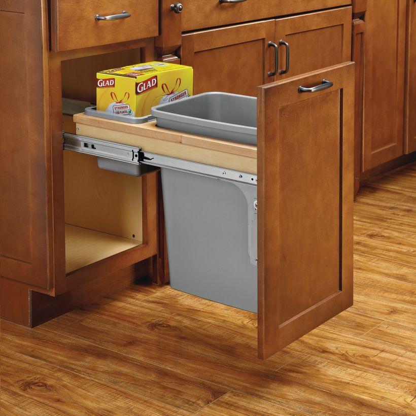 """4WCTM-BBSC Series Single Soft-Close Top Mount 1-1/2"""" Face Frame Wood Waste Container"""