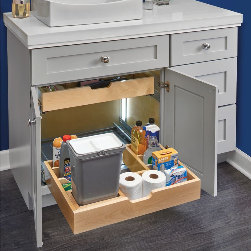 486 Series Bottom Mount Maple U-Shaped Vanity Pull-Out with Blumotion Soft-Close