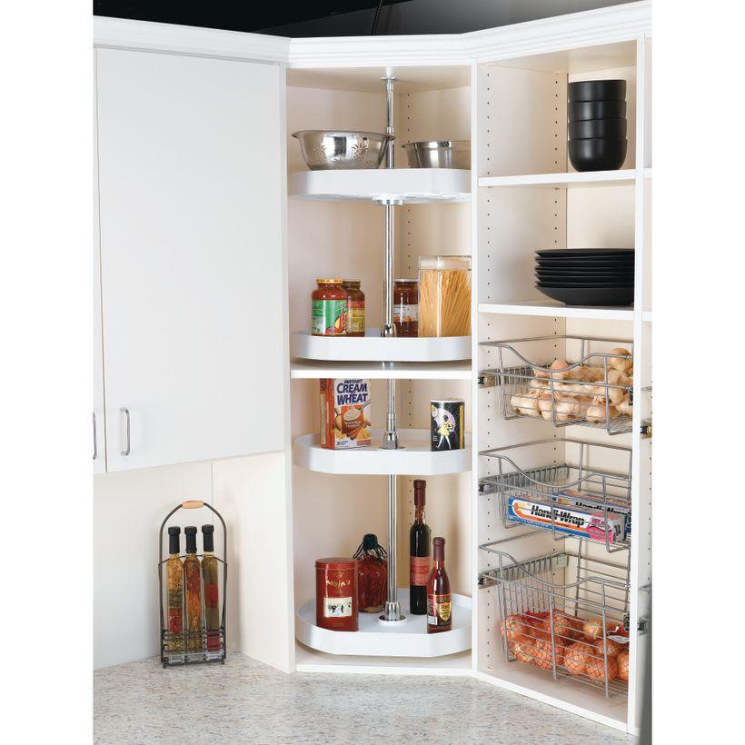 6200 Series 2-Shelf D-Shaped Polymer Lazy Susan