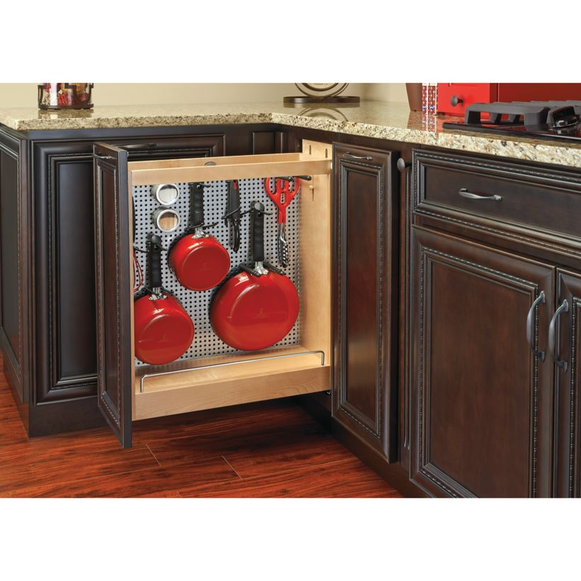444 Series Pull-Out Base Cabinet Organizer with Blumotion Soft-Close & Stainless Panel
