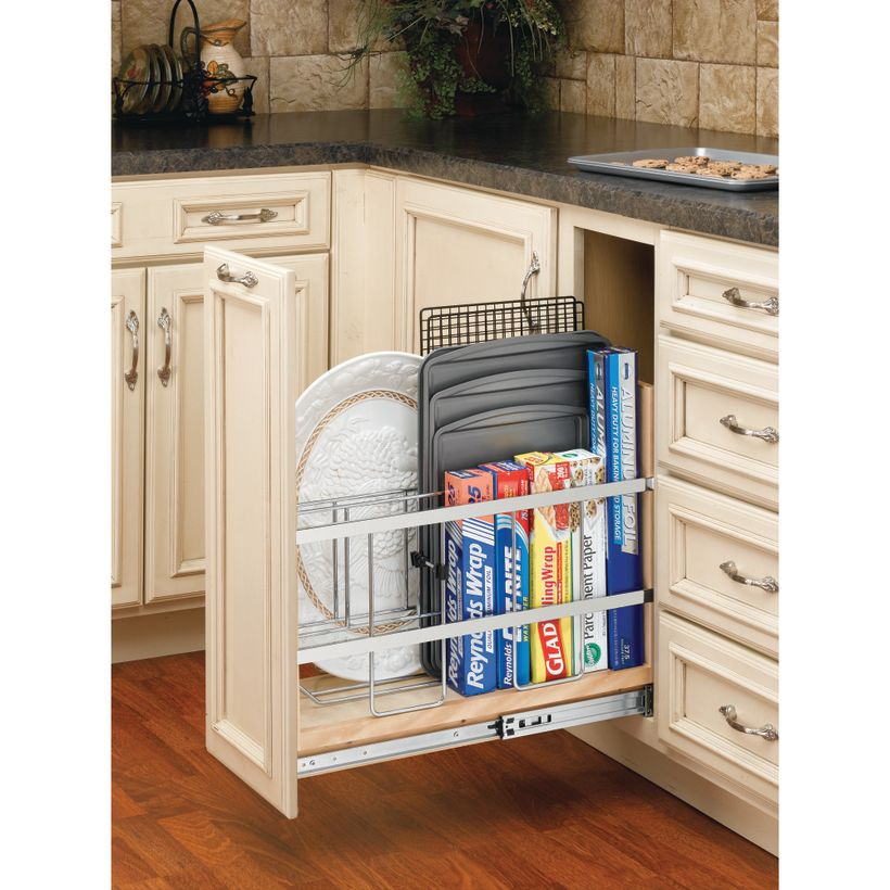 447 Series Base Cabinet Pullout Tray Divider/Foil Holder with Ball-Bearing Soft-Close