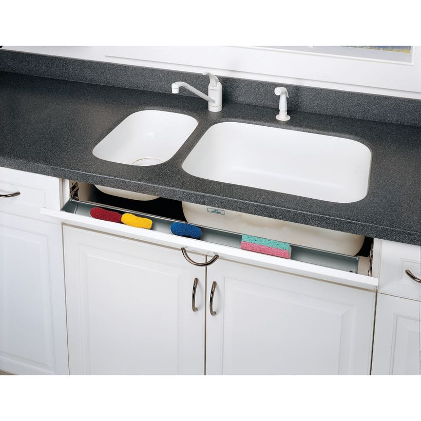 6540 Series Polymer Slim Sink Front Tip-Out Tray With 2 Pair Hinges/End Caps