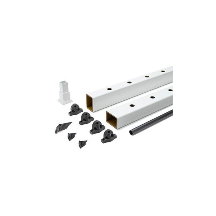 Trex Select Classic White Rail Kit with Round Black Balusters - 36 inch Rail Height - 8 FT - Horizontal