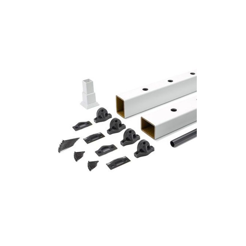 Trex Select Classic White Rail Kit with Round Black Balusters for Stairs - 36 inch Rail Height