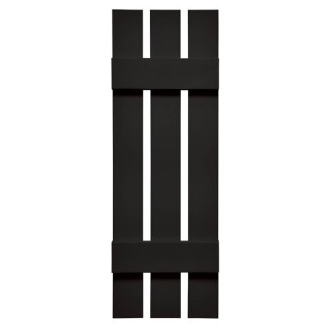 Mid-America Board-n-Batten Vinyl Three Board Joined Shutter, 12 in, Black 002