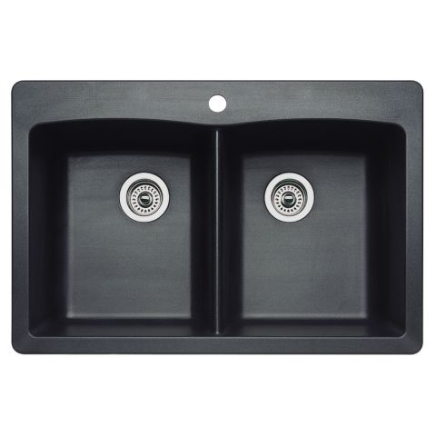 Blanco SILGRANIT II DIAMOND Dual Deck Equal Double Bowl Sink with Ledge