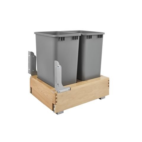 Wood Bottom Mount Double 50 QT Waste Container with Rev-A-Motion™