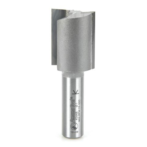 Amana Tool 1/2 in Shank 2 Flute Carbide High Production Straight Plunge Router Bit, 1 in x 2-7/8 in