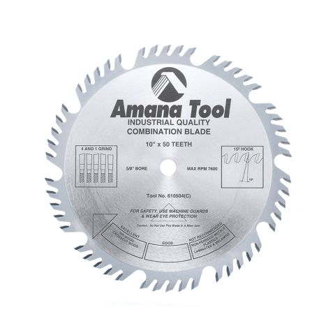 Amana Tool Combination Ripping and Crosscut Saw Blade, 10 in x 50T