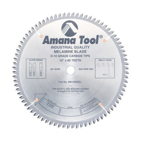 Amana Tool Double-Face Melamine Circular Saw Blade, 10 in x 80T