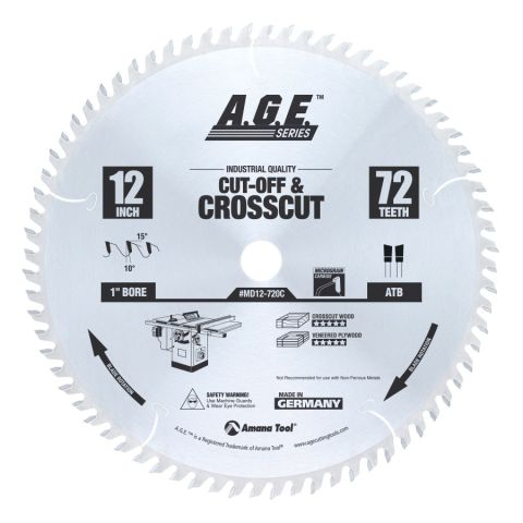 Amana Tool A.G.E. Saw Blades Cut-Off and Crosscut Circular Saw Blade, 12 in x 72T, 15 deg Rake
