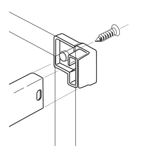 Grass 4.2 mm Screw-On Back Railing Clip, White