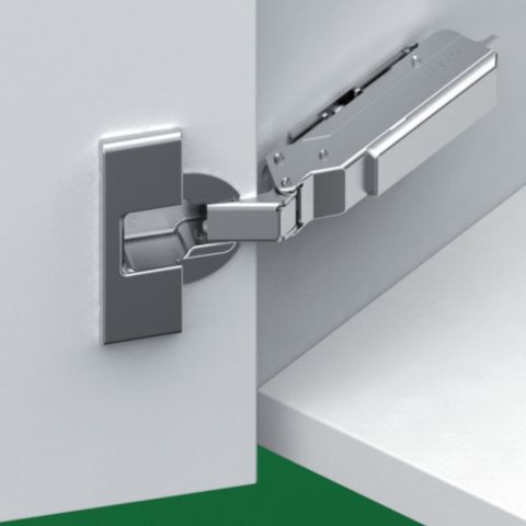 Tiomos 110° Dowelled Self-Close Hinge for Standard Doors -  42 mm Boring Hinge, Overlay, Cranking 03, 19 mm