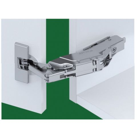 Tiomos Dowelled Soft Close 160° 42 mm Boring Wide-Angle Hinge, Half Overlay, Cranking 9.5 mm