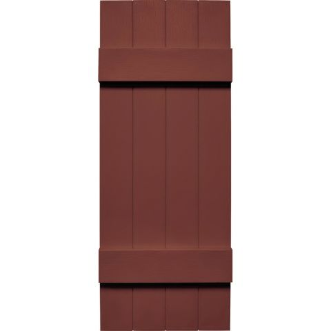 Mid-America Board-n-Batten Vinyl Four Board Joined Shutter, 14 in x 22 in, Burgundy Red 027