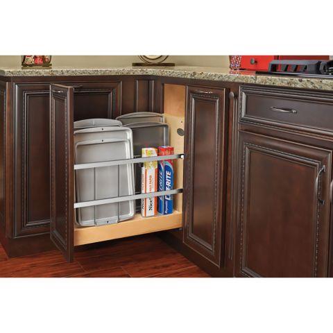 """Rev-A-Shelf Base Cabinet 5"""" Foil Wrap Holder / Tray Divider with Blumotion Slides"""
