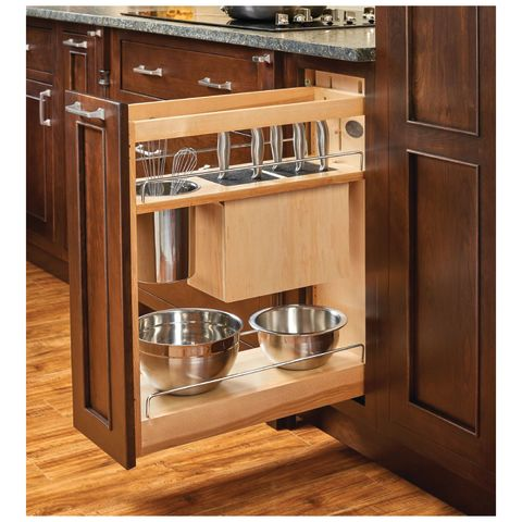 448KB Base Cabinet Pullout Knife/Utensil Organizer with Stainless Bins