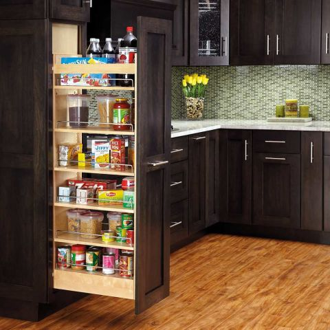 Rev-A-Shelf 448-TP Series Pullout Wood Pantry with Slide