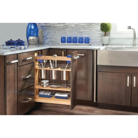 Rev-A-Shelf 448UT Series Base Cabinet Pullout Utensil Organizer With Stainless Bins