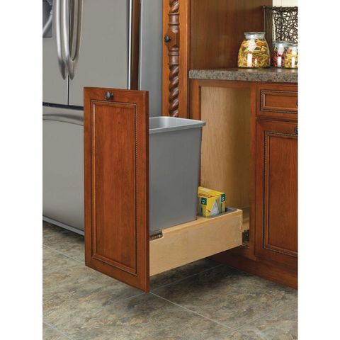 Wood Bottom Mount Single 35 QT Waste Container with Rev-A-Motion™