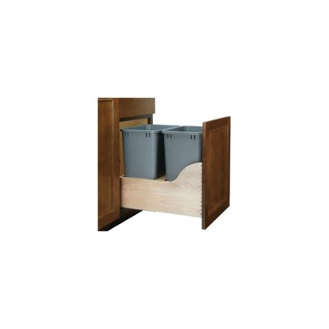 Rev-A-Shelf 4WCSC Series Double 35 Quart Soft-Close Bottom Mount Waste Containers