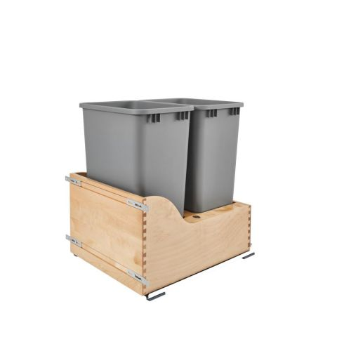 Double 50 Qt Bottom Mount Soft Close Waste Containers