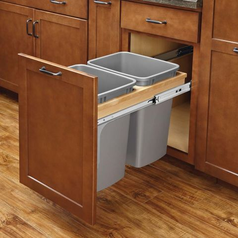 Rev-A-Shelf 4WCTM Series Double 35 Quart Soft-Close Door Mount Waste Container