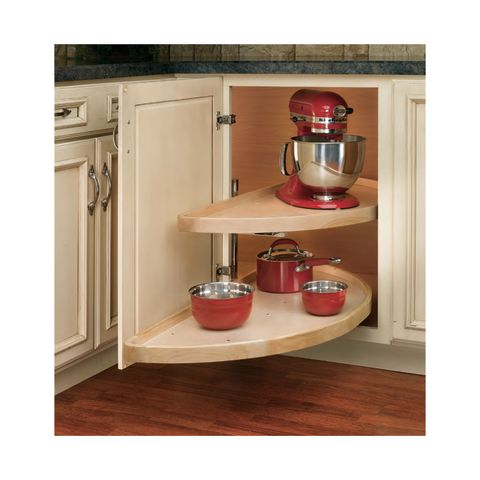 Rev-A-Shelf LD Series Lazy Susan Half-Moon Shaped Wood Shelf Set