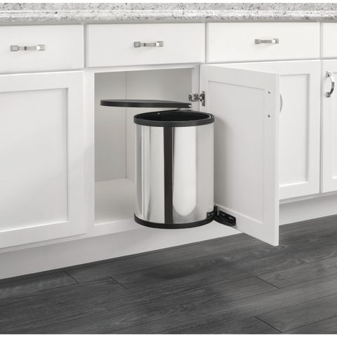 8-010 Series Built-In Pivot Out Round Stainless Steel Waste Container With Lid