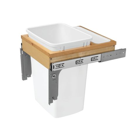 """4WCTM Series Maple Top Mount Waste Container for 1-5/8"""" Face Frame"""