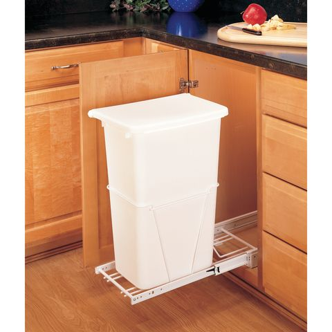 RV Series Single Bottom Mount White Wire Waste Container with Lid