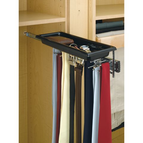 Side Mount Pull-Out Tie Organizer with Belt Hooks and Accessory Tray