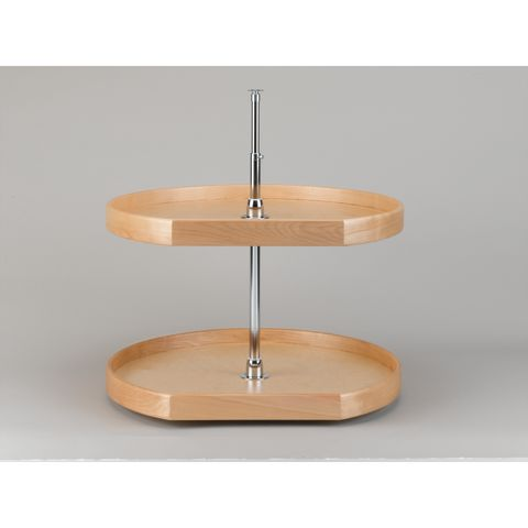 Lazy Daisy Natural Wood LD4NW200 Series 2-Shelf D-Shaped Lazy Susan