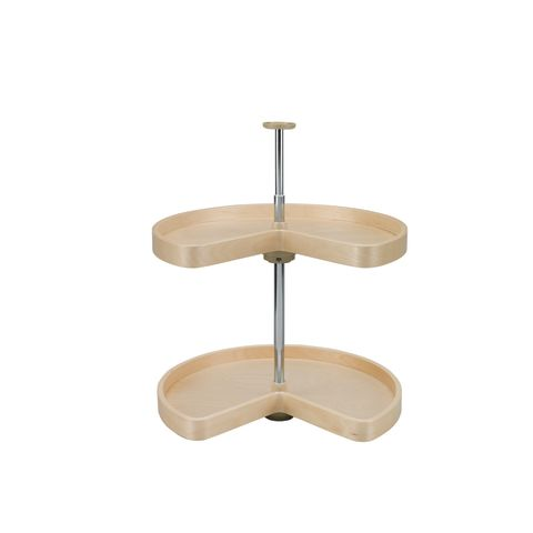 Lazy Daisy LD4BW Series 2-Shelf Kidney Shaped Banded Wood Corner Lazy Susan
