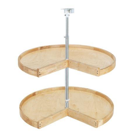 Wood Classic 4WLS900 Series 2-Shelf Pie-Cut Lazy Susan With Polymer Hubs
