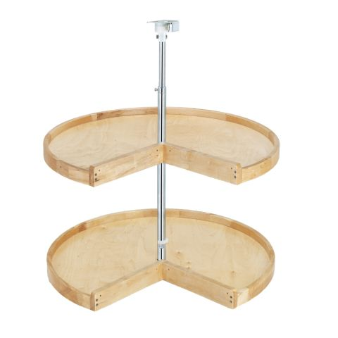 Wood Classic 4WLS900 Series 2-Shelf Pie-Cut Lazy Susan With Steel Hubs