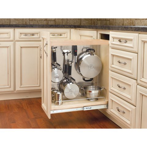 444 Series Pull-Out Base Cabinet Organizer with Stainless Panel