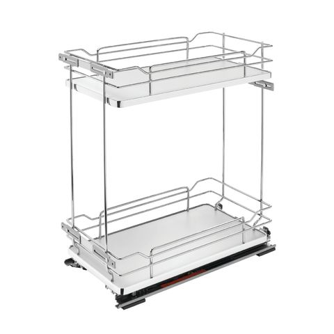 5322 Series Chrome Wire Two Tier Soft-Close Base Cabinet Organizer