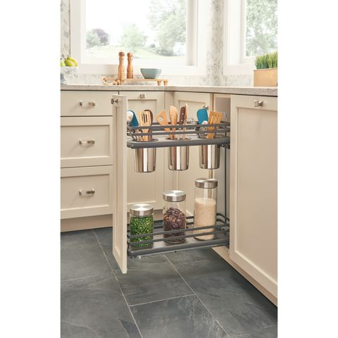 5322-FOG Series Two-Tier Flat Wire Soft-Close Base Cabinet Utensil Organizer