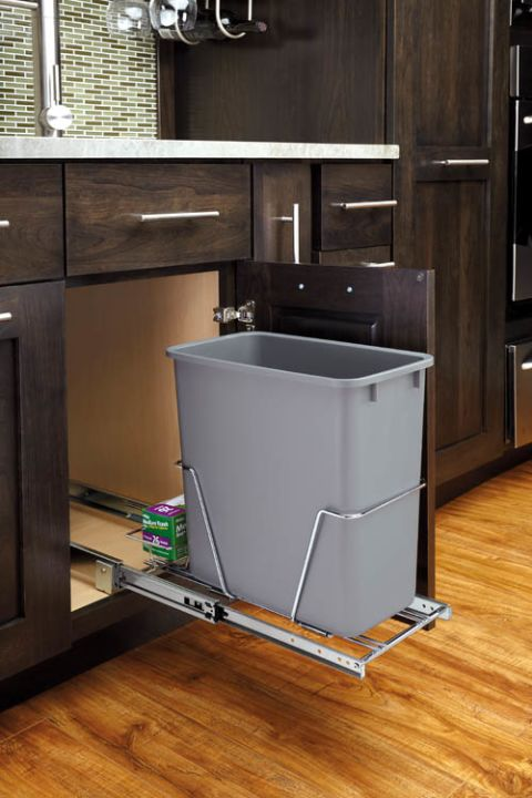 RV Series Single Bottom Mount Wire Frame Waste Container With Rear Basket