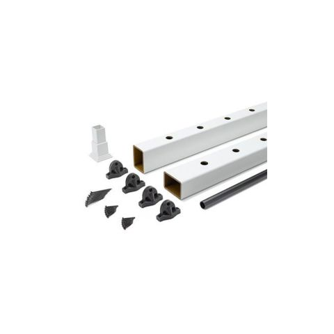 "Trex Select Classic White Rail Kit with Round Black Balusters - 42"" Rail Height"