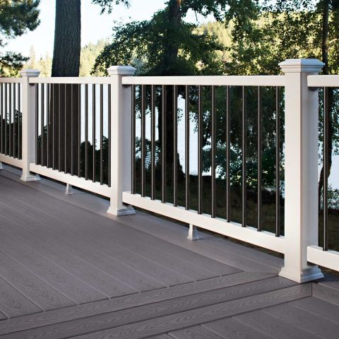 "Select Classic White Rail Kit with Round Black Balusters for Stairs - 42"" Rail Height"