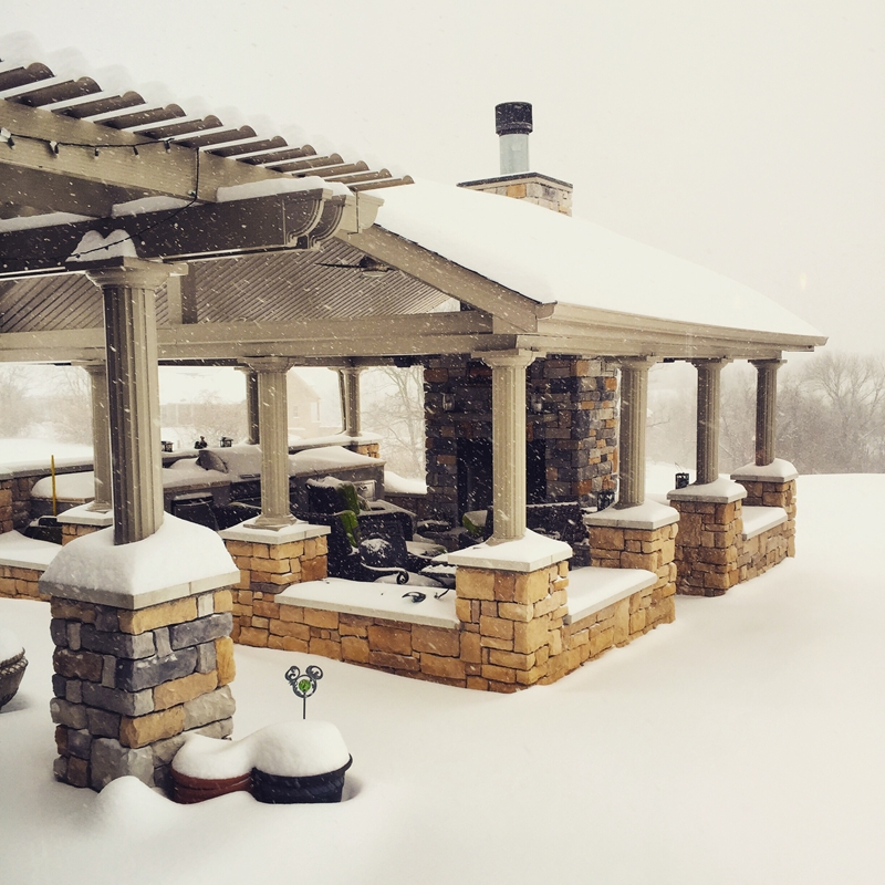 The patio cover can protect your gathering area from heavy snow, allowing you and your family to enjoy it year round.
