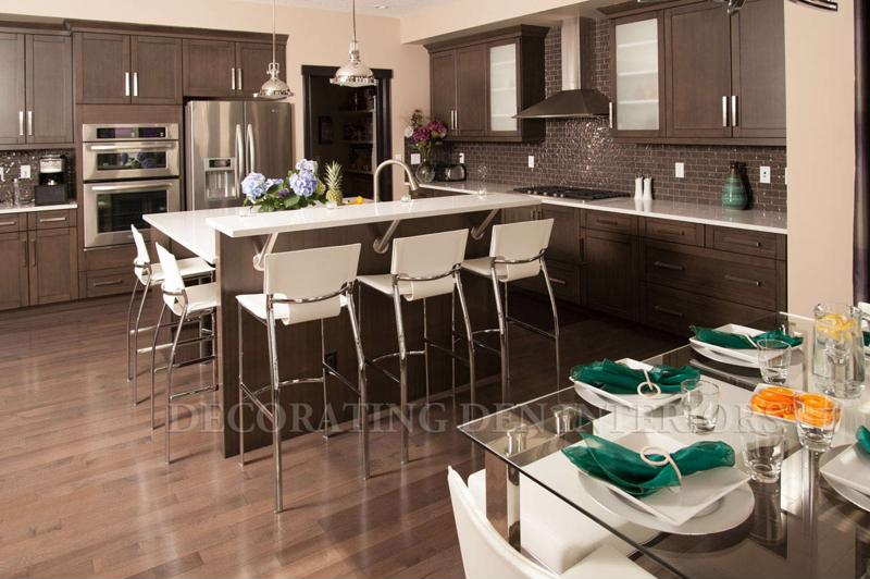 Many modern kitchen remodels include smart tech and dark tones.