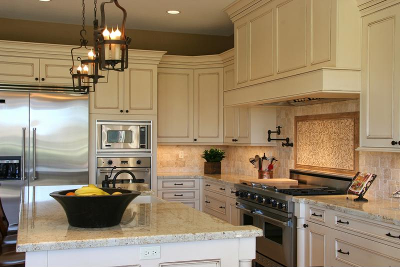 Choose a countertop that compliments other aspects of your kitchen, like the cabinets and appliances.