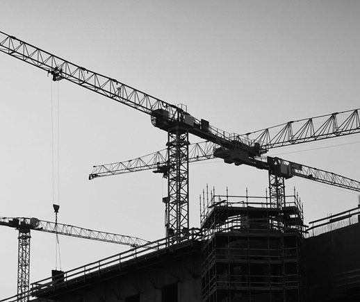 Cranes in a construction site