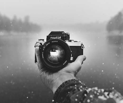 A camera in a hand