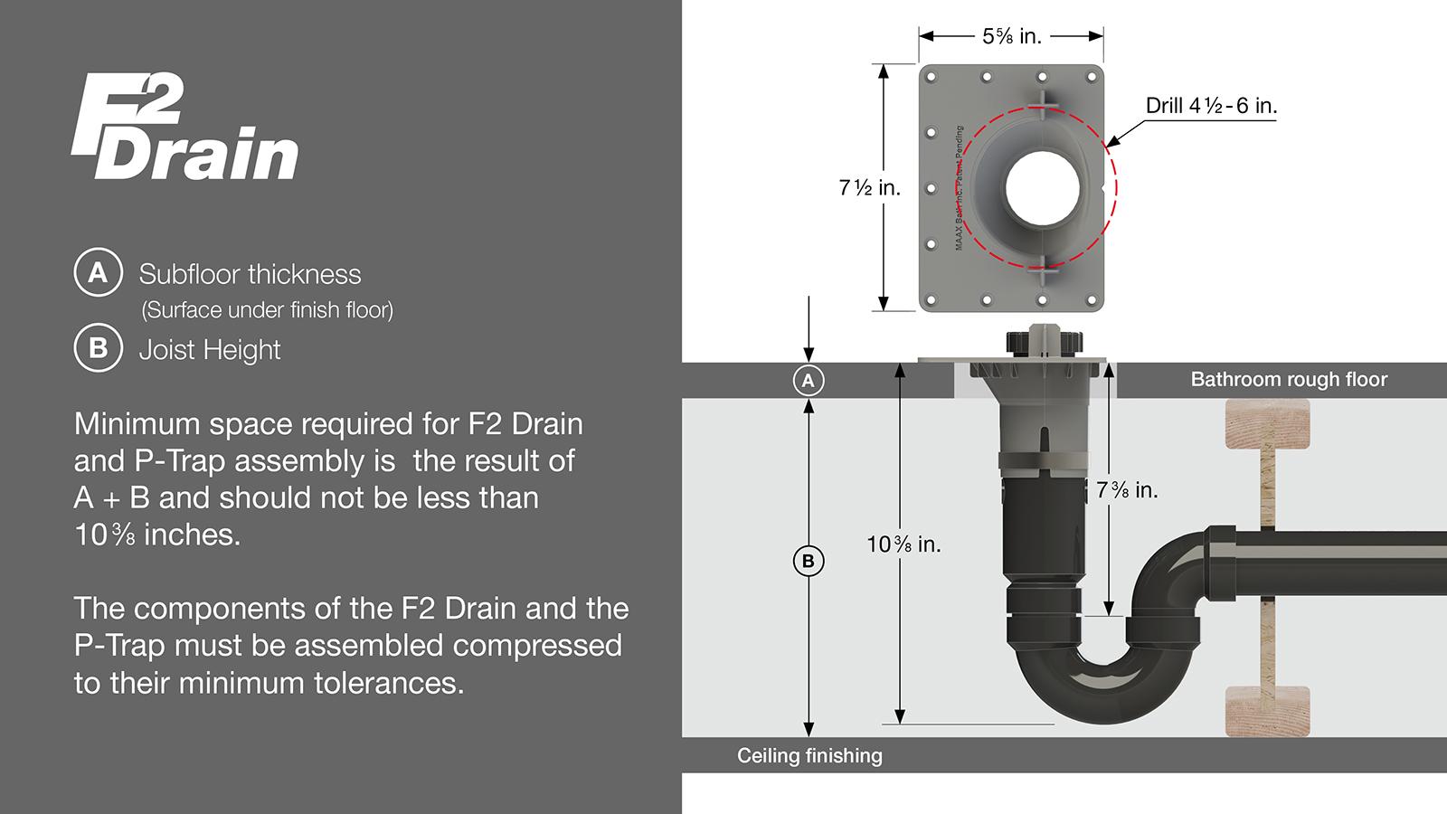 MAAX F2 Drain: Minimum Space Required