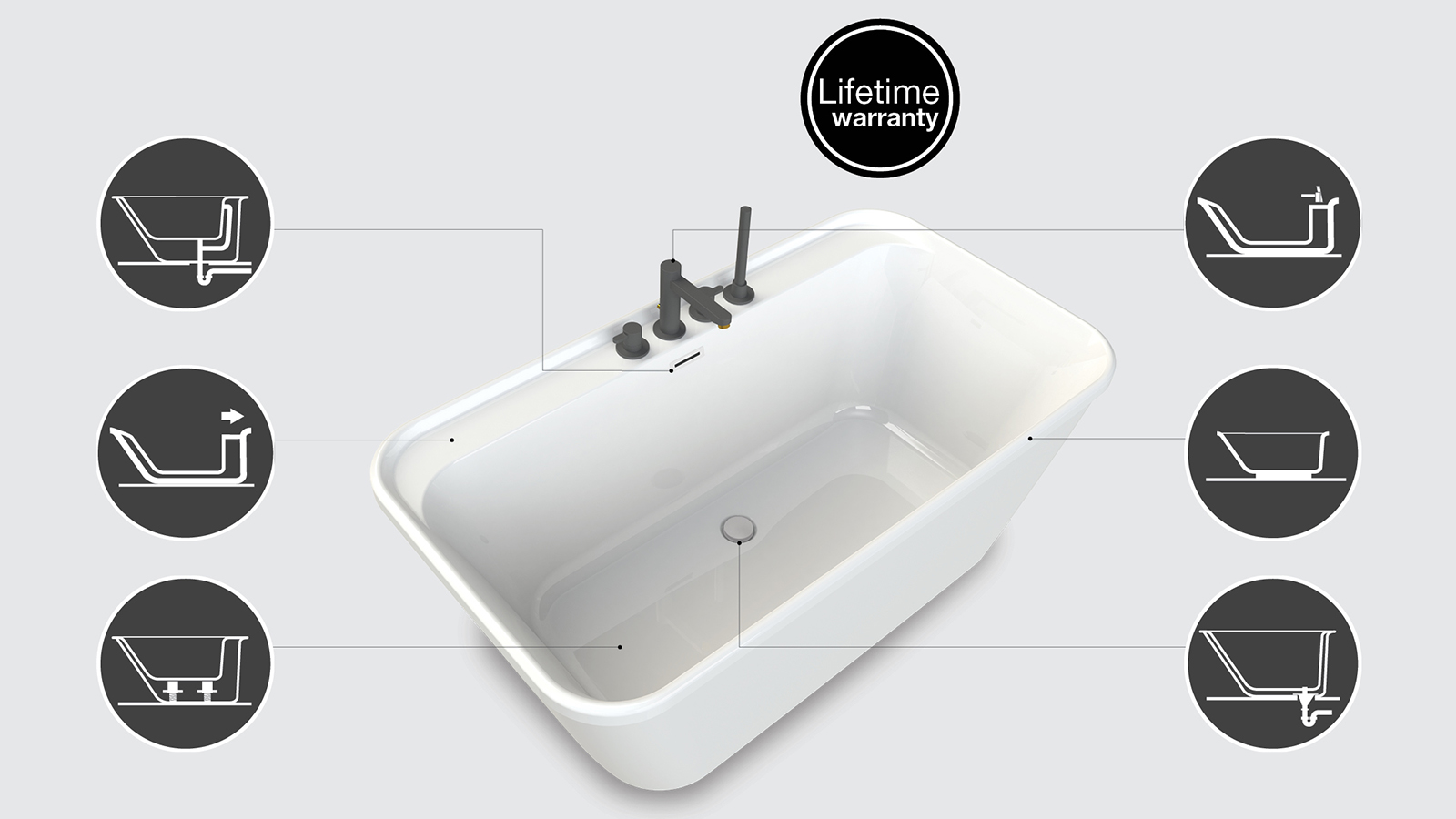 MAAX two piece freestanding bathtub design features
